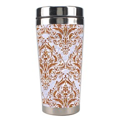 Damask1 White Marble & Rusted Metal (r) Stainless Steel Travel Tumblers by trendistuff