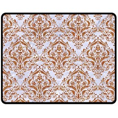 Damask1 White Marble & Rusted Metal (r) Double Sided Fleece Blanket (medium)  by trendistuff