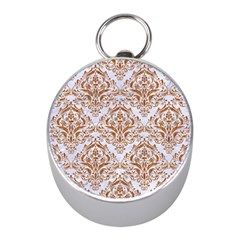 Damask1 White Marble & Rusted Metal (r) Mini Silver Compasses by trendistuff