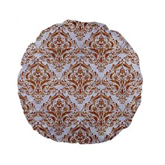 Damask1 White Marble & Rusted Metal (r) Standard 15  Premium Flano Round Cushions by trendistuff
