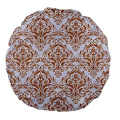 Damask1 White Marble & Rusted Metal (r) Large 18  Premium Flano Round Cushions by trendistuff