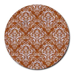 Damask1 White Marble & Rusted Metal Round Mousepads by trendistuff