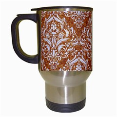 Damask1 White Marble & Rusted Metal Travel Mugs (white) by trendistuff