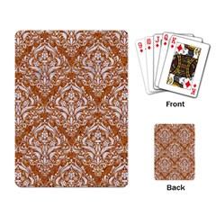 Damask1 White Marble & Rusted Metal Playing Card by trendistuff
