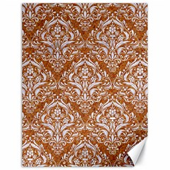 Damask1 White Marble & Rusted Metal Canvas 18  X 24   by trendistuff