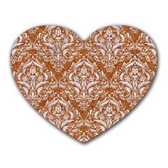 Damask1 White Marble & Rusted Metal Heart Mousepads by trendistuff