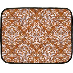 Damask1 White Marble & Rusted Metal Double Sided Fleece Blanket (mini)  by trendistuff