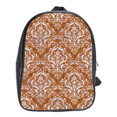 Damask1 White Marble & Rusted Metal School Bag (large) by trendistuff