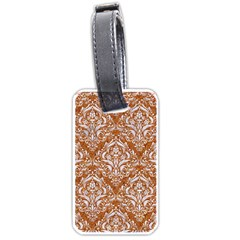 Damask1 White Marble & Rusted Metal Luggage Tags (two Sides) by trendistuff
