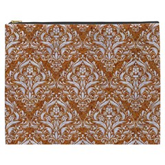 Damask1 White Marble & Rusted Metal Cosmetic Bag (xxxl)  by trendistuff