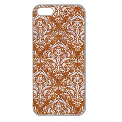 Damask1 White Marble & Rusted Metal Apple Seamless Iphone 5 Case (clear) by trendistuff