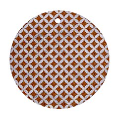 Circles3 White Marble & Rusted Metal Round Ornament (two Sides) by trendistuff