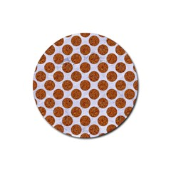 Circles2 White Marble & Rusted Metal (r) Rubber Round Coaster (4 Pack)  by trendistuff