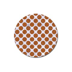 Circles2 White Marble & Rusted Metal (r) Magnet 3  (round) by trendistuff