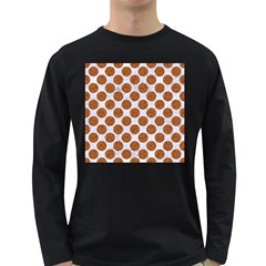 Circles2 White Marble & Rusted Metal (r) Long Sleeve Dark T Shirts by trendistuff