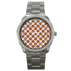 Circles2 White Marble & Rusted Metal (r) Sport Metal Watch by trendistuff