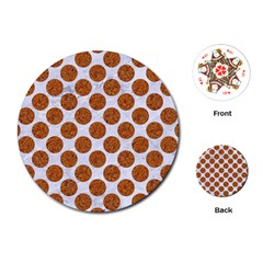 Circles2 White Marble & Rusted Metal (r) Playing Cards (round)  by trendistuff