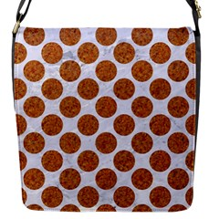 Circles2 White Marble & Rusted Metal (r) Flap Messenger Bag (s) by trendistuff