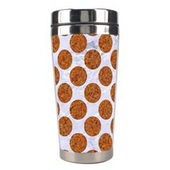 Circles2 White Marble & Rusted Metal (r) Stainless Steel Travel Tumblers by trendistuff