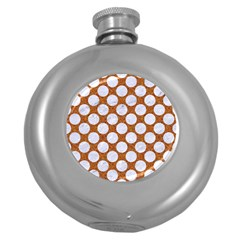 Circles2 White Marble & Rusted Metal Round Hip Flask (5 Oz) by trendistuff