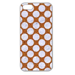 Circles2 White Marble & Rusted Metal Apple Seamless Iphone 5 Case (clear) by trendistuff