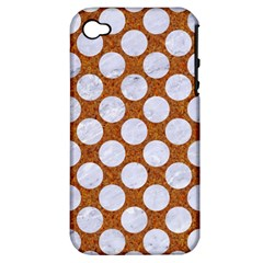 Circles2 White Marble & Rusted Metal Apple Iphone 4/4s Hardshell Case (pc+silicone) by trendistuff