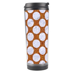Circles2 White Marble & Rusted Metal Travel Tumbler by trendistuff