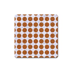Circles1 White Marble & Rusted Metal (r) Square Magnet by trendistuff