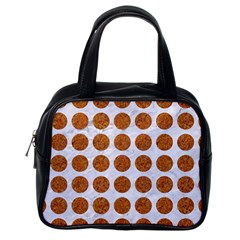 Circles1 White Marble & Rusted Metal (r) Classic Handbags (one Side) by trendistuff