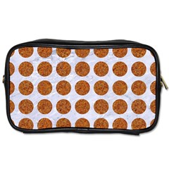 Circles1 White Marble & Rusted Metal (r) Toiletries Bags by trendistuff