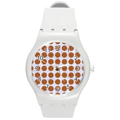 Circles1 White Marble & Rusted Metal (r) Round Plastic Sport Watch (m) by trendistuff
