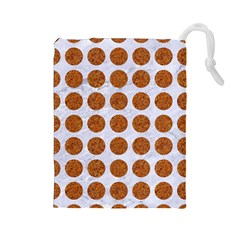 Circles1 White Marble & Rusted Metal (r) Drawstring Pouches (large)  by trendistuff