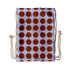 Circles1 White Marble & Rusted Metal (r) Drawstring Bag (small) by trendistuff