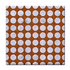 Circles1 White Marble & Rusted Metal Tile Coasters by trendistuff