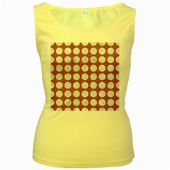 Circles1 White Marble & Rusted Metal Women s Yellow Tank Top by trendistuff
