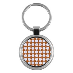 Circles1 White Marble & Rusted Metal Key Chains (round)  by trendistuff