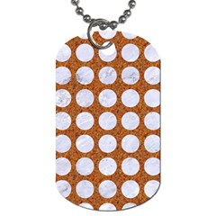 Circles1 White Marble & Rusted Metal Dog Tag (one Side) by trendistuff