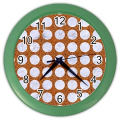 Circles1 White Marble & Rusted Metal Color Wall Clocks by trendistuff