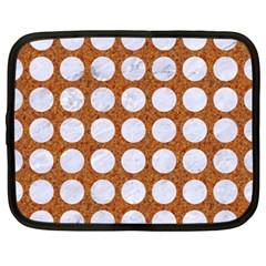 Circles1 White Marble & Rusted Metal Netbook Case (large) by trendistuff