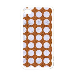 Circles1 White Marble & Rusted Metal Apple Iphone 4 Case (white) by trendistuff