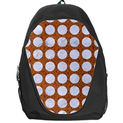 Circles1 White Marble & Rusted Metal Backpack Bag by trendistuff