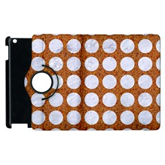 Circles1 White Marble & Rusted Metal Apple Ipad 2 Flip 360 Case by trendistuff