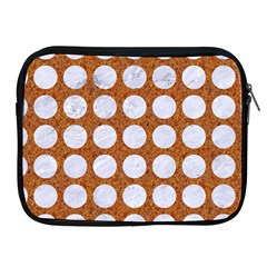 Circles1 White Marble & Rusted Metal Apple Ipad 2/3/4 Zipper Cases by trendistuff
