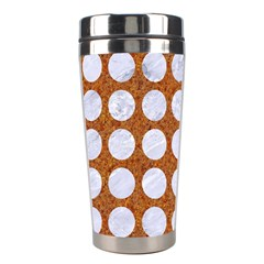 Circles1 White Marble & Rusted Metal Stainless Steel Travel Tumblers by trendistuff