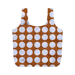 Circles1 White Marble & Rusted Metal Full Print Recycle Bags (m)  by trendistuff