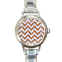 Chevron9 White Marble & Rusted Metal (r) Round Italian Charm Watch by trendistuff