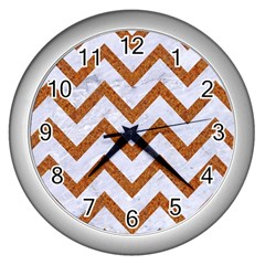 Chevron9 White Marble & Rusted Metal (r) Wall Clocks (silver)