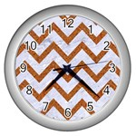 CHEVRON9 WHITE MARBLE & RUSTED METAL (R) Wall Clocks (Silver)  Front