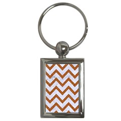 Chevron9 White Marble & Rusted Metal (r) Key Chains (rectangle)  by trendistuff