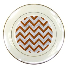 Chevron9 White Marble & Rusted Metal (r) Porcelain Plates by trendistuff